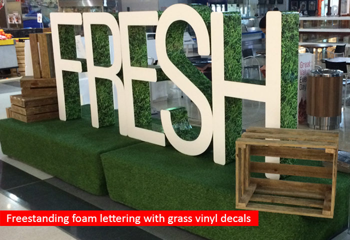 Foam lettering - grass decal